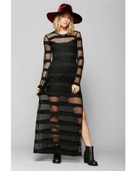 Urban Outfitters - Black Mesh Stripe Maxi Dress - Lyst