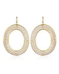 Wendy Mink | Oval Frame White Pearl Earrings | Lyst