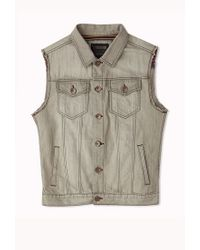 Forever 21 - Gray Light Washed Frayed Denim Vest for Men - Lyst