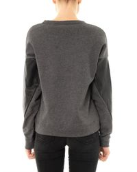 DKNY - Gray Leather Sleeve Sweatshirt for Men - Lyst