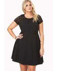 Forever 21 - Black Elegant Crochet Lace Dress - Lyst