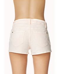 Forever 21 - White Life In Progress™ Acid Wash Colored Denim Shorts - Lyst