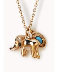 Forever 21 - Metallic Elephant Faux Turquoise Necklace - Lyst