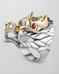 John Hardy - Metallic Naga Batu Ruby-eye Dragon Ring - Lyst