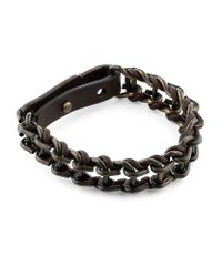 Lanvin | Black Leather and Metal Chain Bracelet for Men | Lyst