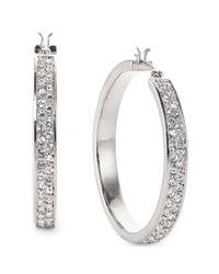 Lauren by Ralph Lauren | Metallic Silvertone Pave Crystal Medium Hoop Earrings | Lyst