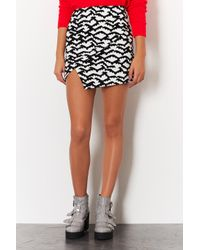 TOPSHOP - White Bat Print Mini Skirt - Lyst