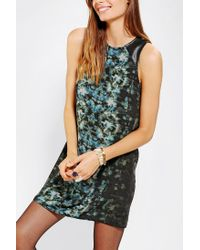 Urban Outfitters | Green Silence Noise Vegan Leather Yoke Shift Dress | Lyst