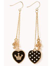 Forever 21 - Black Regal Heart Cross Earrings - Lyst