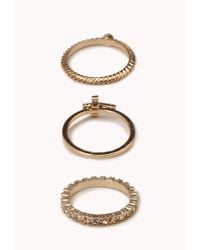 Forever 21 - Metallic Twisted Rhinestoned Cross Ring Set - Lyst