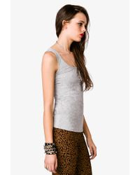 Forever 21 - Gray Essential Shirred Tank - Lyst