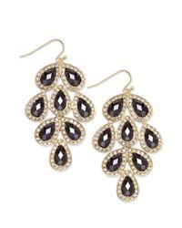 INC International Concepts | Metallic Gold-tone Jet Stone Leaf Chandelier Earrings | Lyst