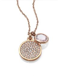 Michael Kors | Metallic Pave Disc Faceted Pendant Necklacerose Goldtone | Lyst