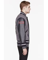 Opening Ceremony | Purple and Grey Leather_sleeved Varsity Jacket for Men | Lyst