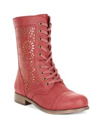 Rampage - Red Joiner Lace Up Perforated Booties - Lyst