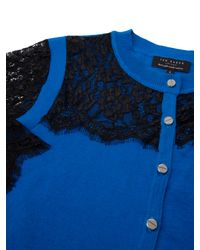 Ted Baker - Blue Gwuna Lace Detail Cardigan - Lyst