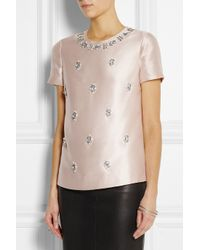 Tory Burch - Pink Vesper Bead-embellished Woven Silk Top - Lyst