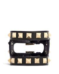 Valentino - Black 'rockstud' Cutout Leather Bracelet - Lyst
