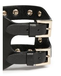 Valentino - Black 'rockstud' Cutout Leather Bracelet - Lyst