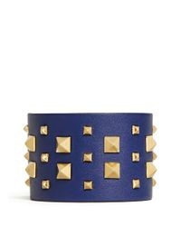 Valentino | Blue 'rockstud' Wide Leather Bracelet | Lyst