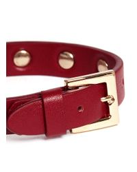 Valentino - Rockstud Leather Skinny Bracelet (red) - Lyst