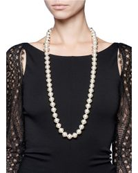 Valentino - White Studded Long Pearl Necklace - Lyst