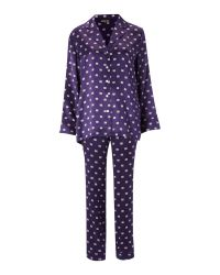 Biba - Purple Paisley Logo Silk Pj Set - Lyst