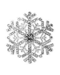 Jones New York | Metallic Silvertone Crystal Snowflake Pin | Lyst