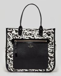 kate spade new york | Black Aurelia Court Jessmin Printed Nylon Tote Bag | Lyst