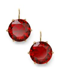 Lauren by Ralph Lauren - Red 14k Goldplated Faceted Garnet Glass Drop Earrings - Lyst