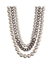 Givenchy - Metallic Givenchy Necklace, Brown Gold-Tone Blush Glass Pearl and Swarovski Crystal Multi-Row Collar Necklace - Lyst