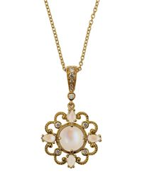 Penny Preville | Metallic Yellow Gold Diamond moonstone Pendant Necklace | Lyst