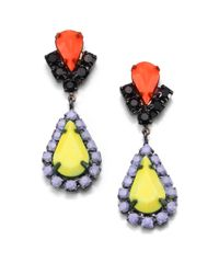Tom Binns - Yellow Multicolor Crystal Teardrop Earrings - Lyst