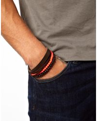 Fred Perry - Natural Wooden Bracelet with Fluoro Beads for Men - Lyst