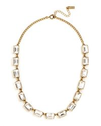 Swarovski - Green Emerald Cut Gem Necklace - Lyst