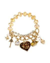 Betsey Johnson - Metallic Goldtone Leopard Multicharm And Bead Stretch Bracelet - Lyst