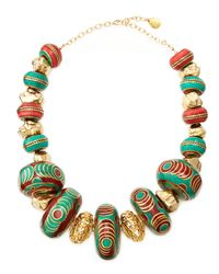 Devon Leigh | Multicolor Turquoise & Coral Beaded Nugget Necklace | Lyst
