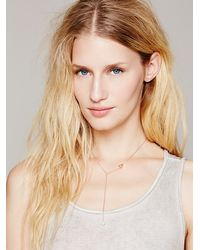 Free People - Metallic Crystal Lariat Delicate Charm Necklace - Lyst