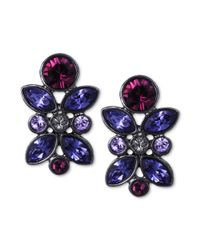 Givenchy | Blue Hematitetone Swarovski Tanzanite Crystal Cluster Button Earrings | Lyst