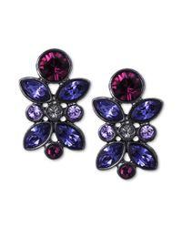 Givenchy   Blue Hematitetone Swarovski Tanzanite Crystal Cluster Button Earrings   Lyst