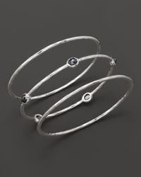 Ippolita | Metallic Sterling Silver Rock Candy Bangle Trio In Hematite | Lyst