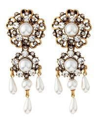Oscar de la Renta - Gray Baroque Pearly Drop Earrings - Lyst