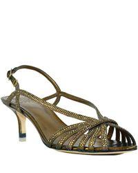 Pelle Moda - Metallic Leather Rhinestone Slingback Sandal - Lyst