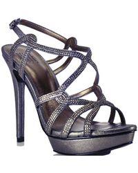 Pelle Moda | Metallic Leather Rhinestone Platform Sandal | Lyst