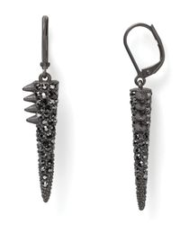 Sam Edelman - Black Pave Spike Drop Earrings - Lyst