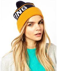 ASOS - Orange Supremebeing Blatant Bobble Beanie Hat - Lyst