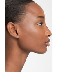Adina Reyter | Metallic Super Tiny Pavé Diamond Open Circle Stud Earrings | Lyst
