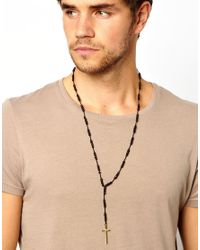 ASOS - Black Rosary Necklace for Men - Lyst