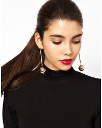ASOS - Metallic Ball Drop Earrings - Lyst