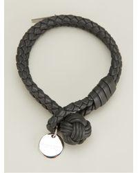 Bottega Veneta - Gray Intrecciato Leather Bracelet - Lyst